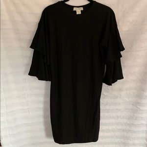 Ruffle Sleeve Black Dress